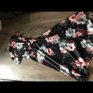 Dress: black floral